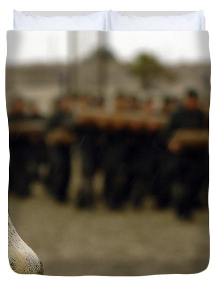 Duvet Cover featuring the photograph The Bell Is Present On The Beach by Stocktrek Images