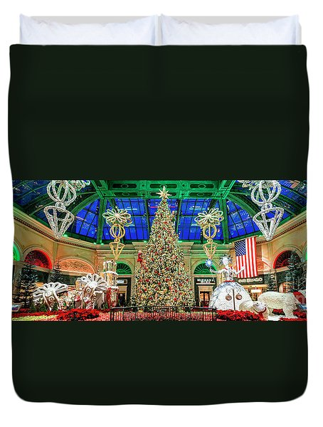 The Bellagio Christmas Tree Panorama 2017 Duvet Cover