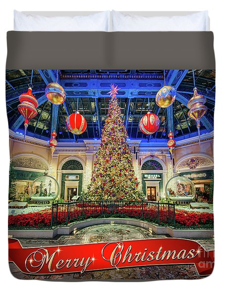 The Bellagio Conservatory Christmas Tree Card 5 By 7 Duvet Cover