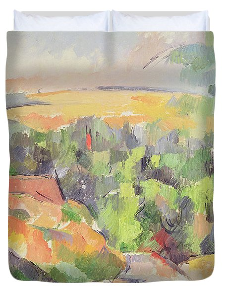 The Bend In The Road Duvet Cover by Paul Cezanne