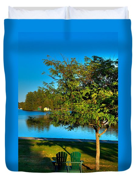 The Best Spot On Old Forge Pond Duvet Cover by David Patterson