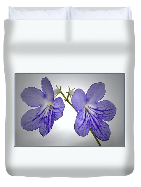 Duvet Cover featuring the photograph The Betham Twins. by Terence Davis