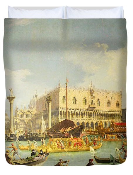 The Betrothal Of The Venetian Doge To The Adriatic Sea Duvet Cover by Canaletto