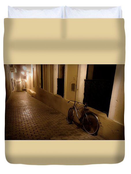 Duvet Cover featuring the photograph The Bicycle And The Brick Road by DigiArt Diaries by Vicky B Fuller
