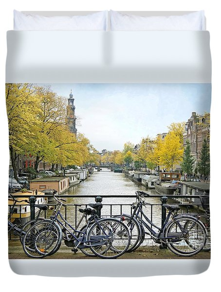 The Bicycle City Of Amsterdam Duvet Cover
