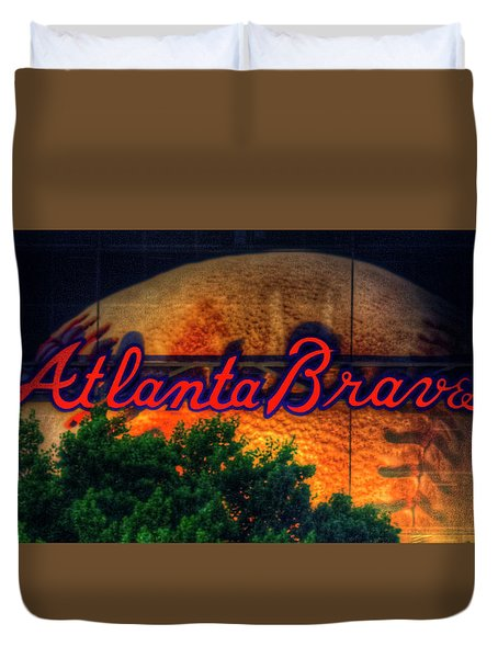 The Big Ball Atlanta Braves Baseball Signage Art Duvet Cover