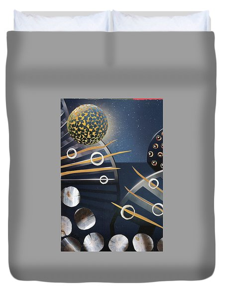 Duvet Cover featuring the painting The Big Bang by Michal Mitak Mahgerefteh