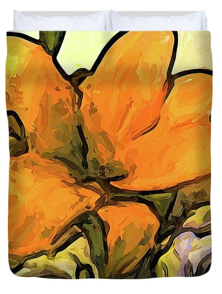 The Big Gold Flower And The White Roses Duvet Cover
