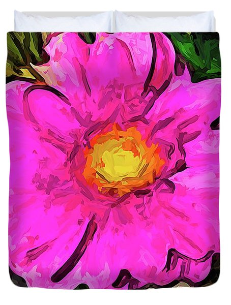 The Big Pink And Yellow Flower In The Little Vase Duvet Cover