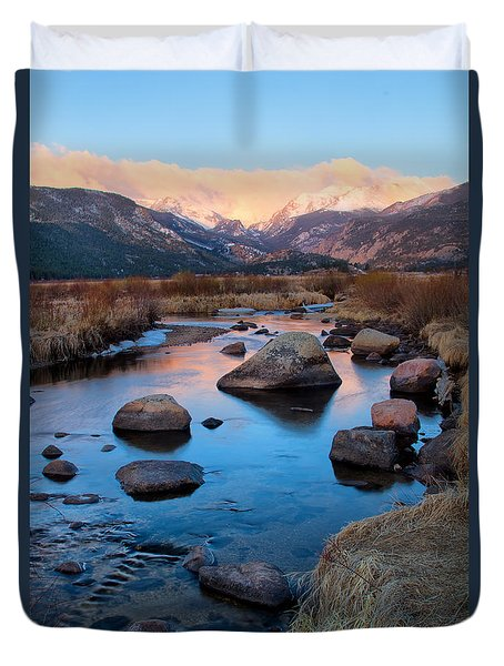 The Big Thompson River Flows Through Rocky Mountain National Par Duvet Cover