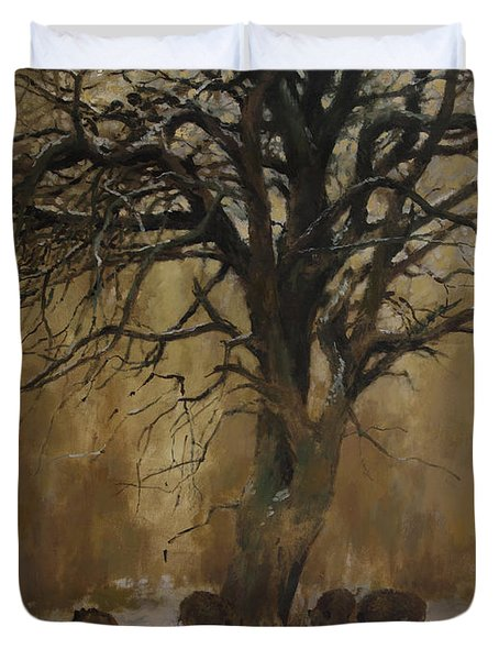 The Big Tree With Wild Boars Duvet Cover