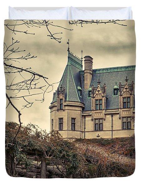 The Biltmore Mansion In The Fall Duvet Cover