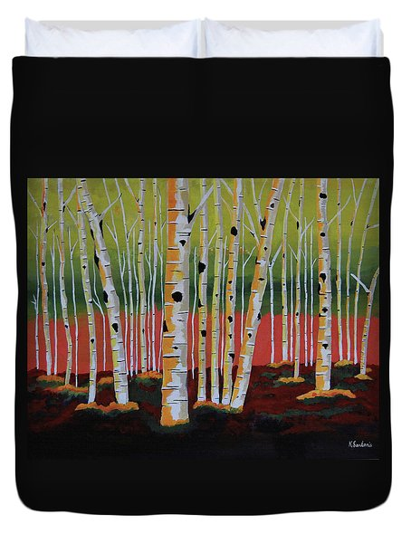 The Birch Forest - Landscape Painting Duvet Cover