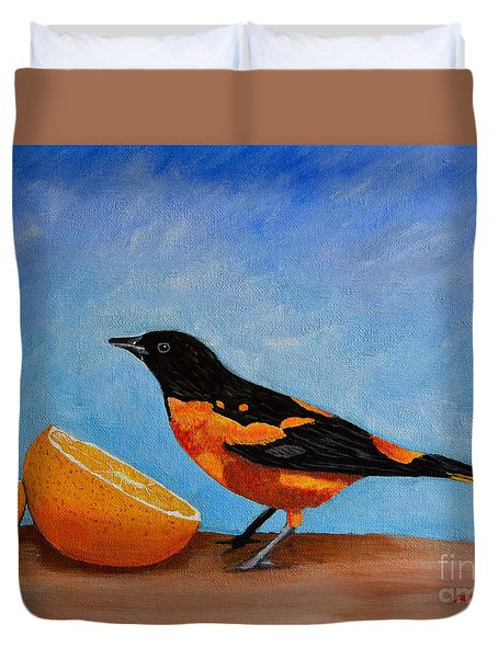 The Bird And Orange Duvet Cover by Laura Forde