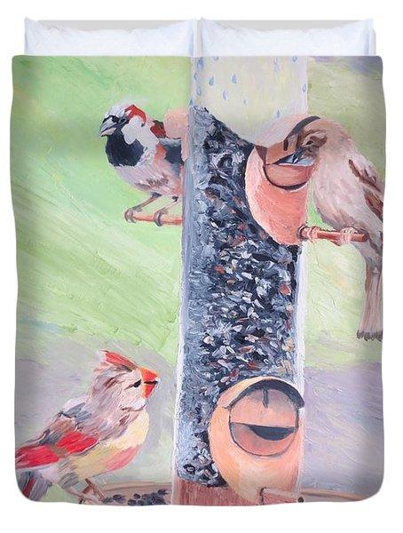 The Bird Feeder Duvet Cover