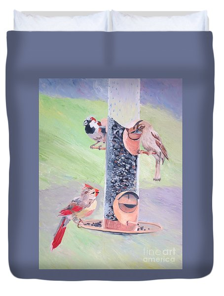 The Bird Feeder Duvet Cover