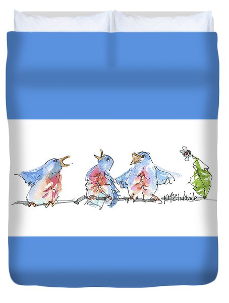 The Birds And The Bee Bird Art Watercolor Painting By Kmcelwaine Duvet Cover