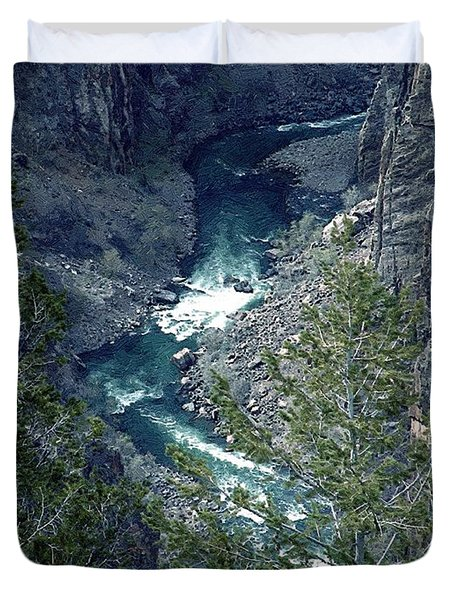 Duvet Cover featuring the painting The Black Canyon Of The Gunnison by RC DeWinter