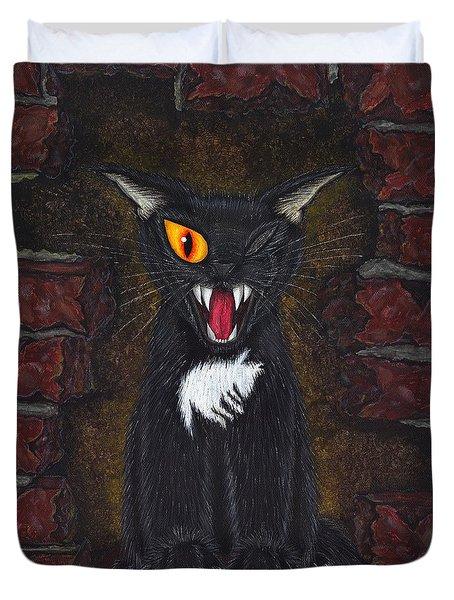 The Black Cat Edgar Allan Poe Duvet Cover