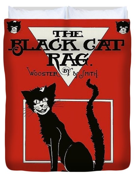 The Black Cat Rag 1905 Sheet Music Art Duvet Cover