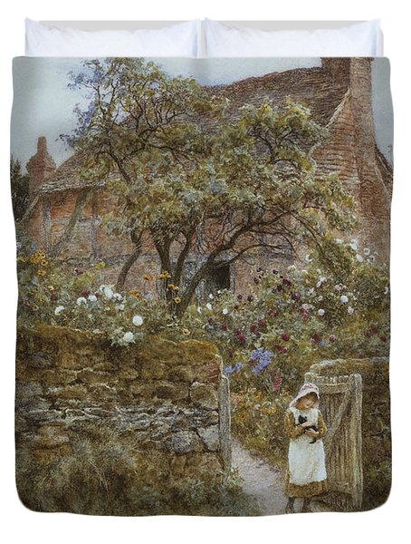 The Black Kitten Duvet Cover by Helen Allingham
