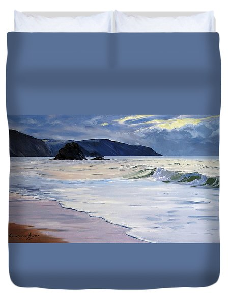 Duvet Cover featuring the painting The Black Rock Widemouth Bay by Lawrence Dyer