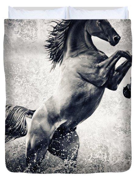 The Black Stallion Arabian Horse Reared Up Duvet Cover