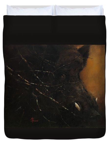 The Black Wildboar Duvet Cover