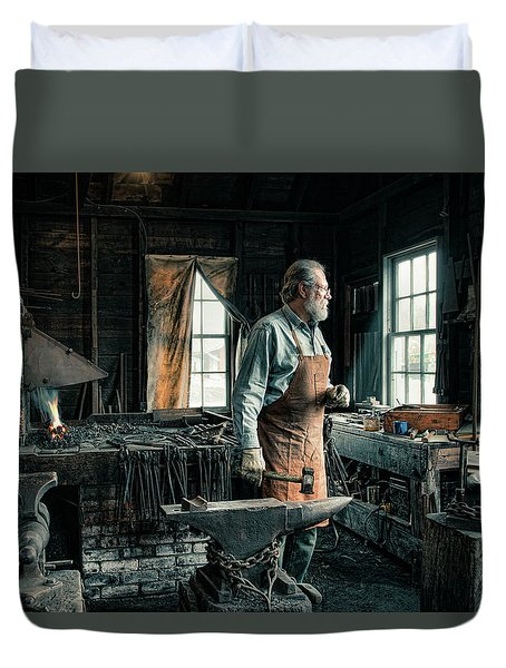 Duvet Cover featuring the photograph The Blacksmith - Smith by Gary Heller