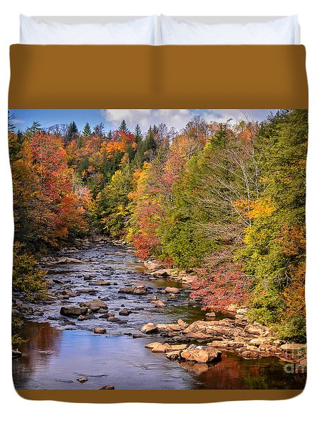 The Blackwater River In Autumn Color Duvet Cover