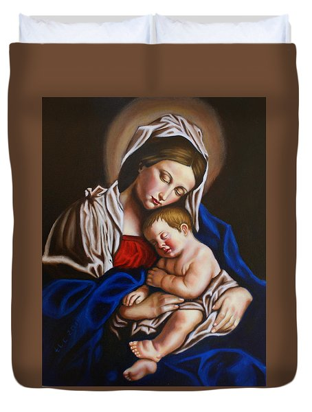 The Blessed Mother And The Infant Jesus Duvet Cover