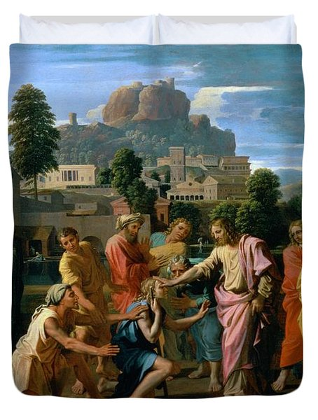 The Blind Of Jericho Duvet Cover by Nicolas Poussin