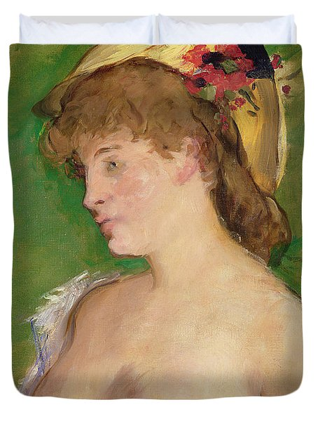 The Blonde With Bare Breasts Duvet Cover by Edouard Manet