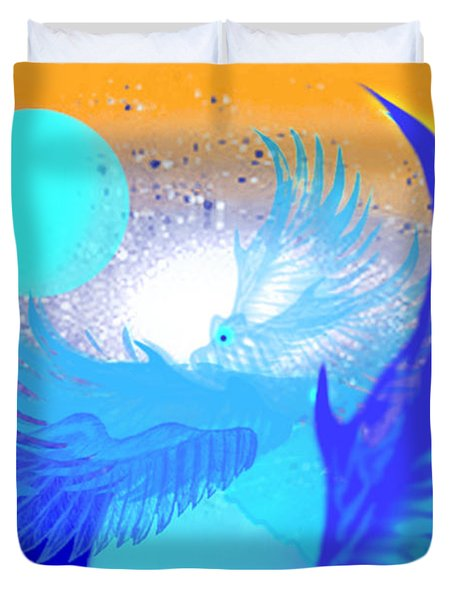 Duvet Cover featuring the digital art The Blue Avians by Ute Posegga-Rudel