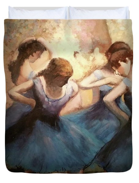 The Blue Ballerinas - A Edgar Degas Artwork Adaptation Duvet Cover