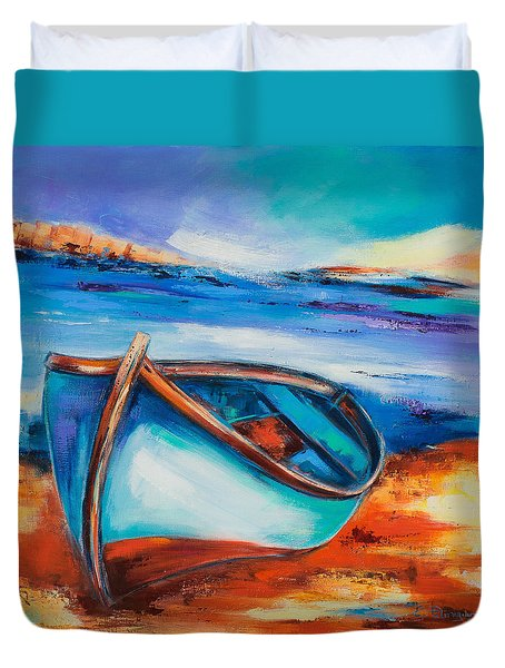 Duvet Cover featuring the painting The Blue Boat by Elise Palmigiani