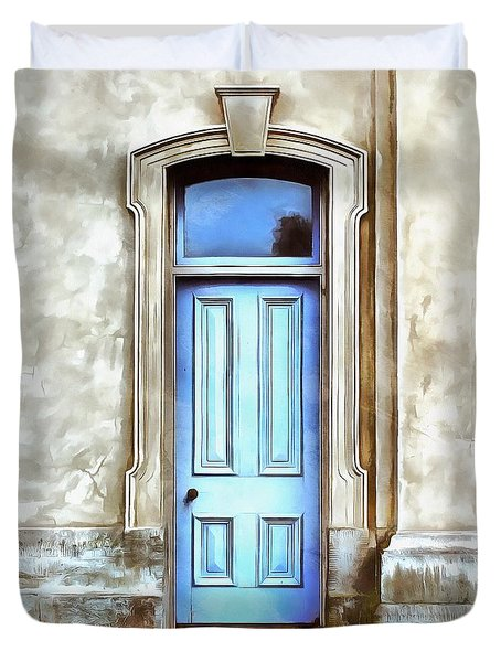 Duvet Cover featuring the painting The Blue Door by Edward Fielding