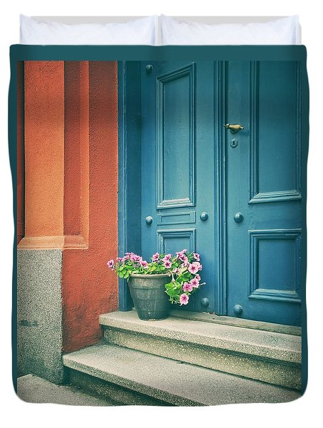Duvet Cover featuring the photograph The Blue Door by Karen Stahlros