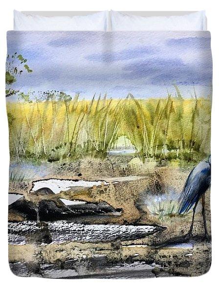 The Blue Egret Duvet Cover