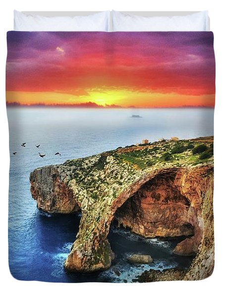 The Blue Grotto At Sunset In Malta Duvet Cover by Stephan Grixti