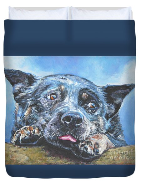 Duvet Cover featuring the painting The Blue Heeler by Lee Ann Shepard