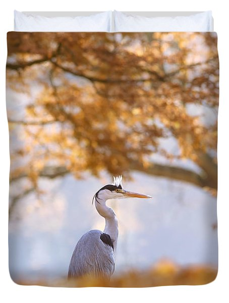 The Blue Heron And The Red Tree Duvet Cover