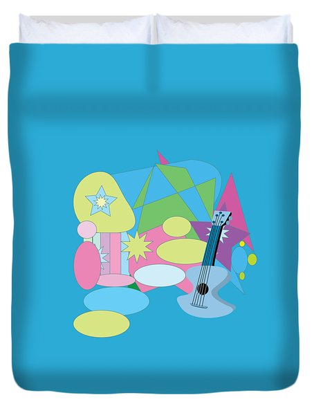 Duvet Cover featuring the digital art The Blues by Eleni Mac Synodinos