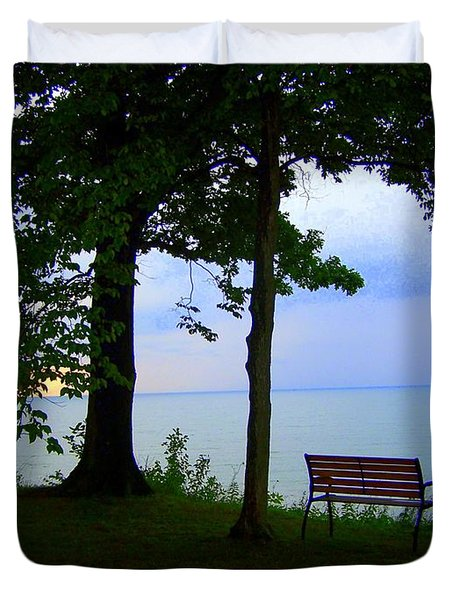Duvet Cover featuring the photograph The Bluffs Bench by Richard Ricci