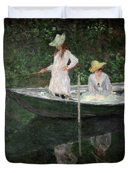 The Boat At Giverny Duvet Cover by Claude Monet