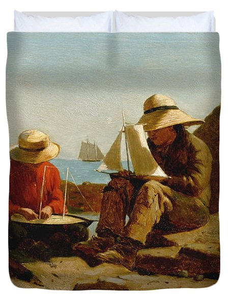 Duvet Cover featuring the painting The Boat Builders - 1873 by Winslow Homer