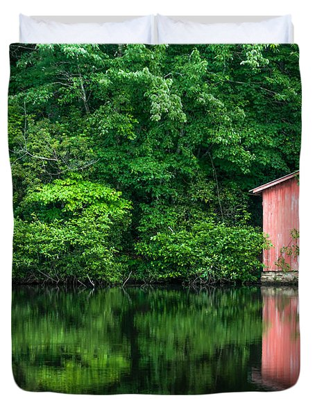 The Boat House At Desoto Falls Duvet Cover by Phillip Burrow