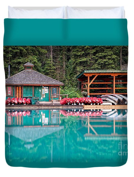 The Boat House At Emerald Lake In Yoho National Park Duvet Cover
