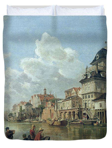 The Boat House At Hamburg Harbour Duvet Cover by Valentin Ruths
