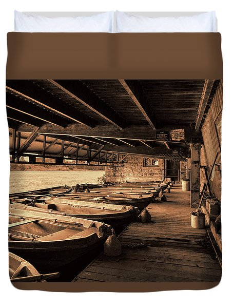 Duvet Cover featuring the photograph The Boat House  by Scott Carruthers